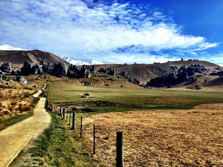 Path leading up into Castle Hill in New Zealand