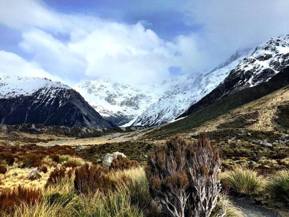 View of recent snow coverd mountains on the Hooker Valley Track in Mount Cook National Park, NZ