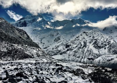 Snow Covered Mountains and ground at Mount Cook National Park in NZ