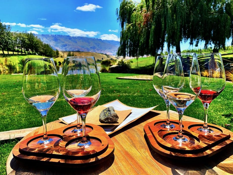 6 Tasting Wine Glasses perched on wooden trays with the Central Otago landscape of mountains, green grass and blue lake in the background
