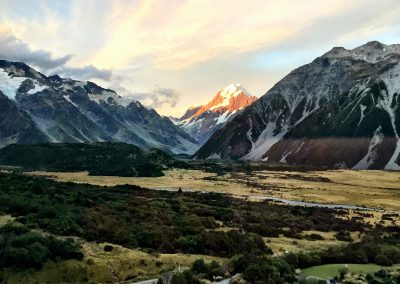 The sunset shining on the peak on Mount Cook in New Zealand