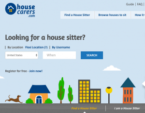 A cartoon scene of a town on the homepage of the House Carers site where house sitters can search and find available sits