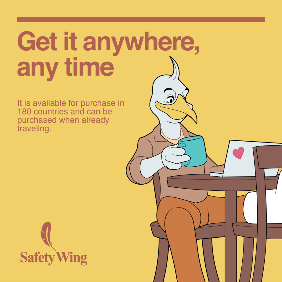 SafetyWing a travel medical insurance for nomads. Get it anywhere, any time.