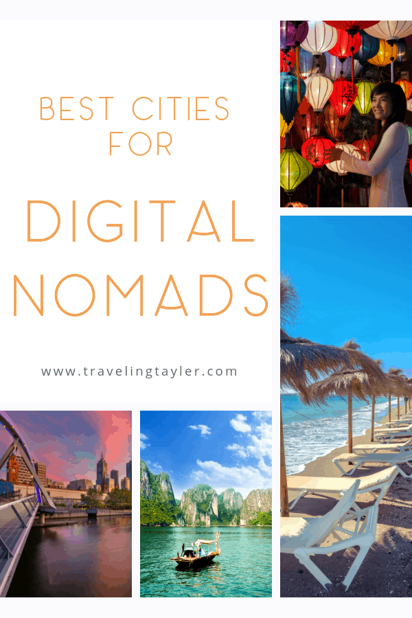 Collage of different cities that are best for digital nomads to live and work from