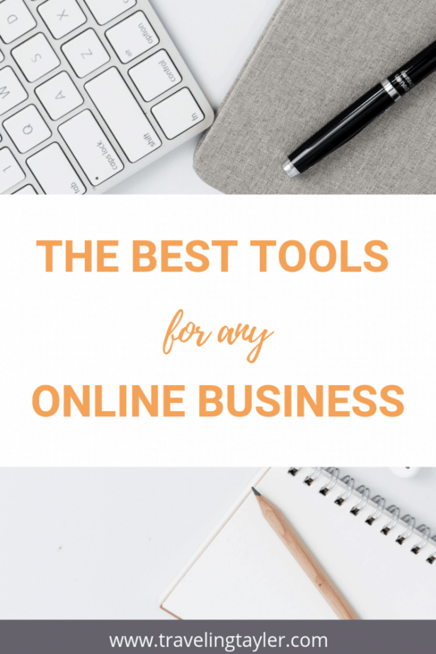 The headline reads: The Best Tools for any Online Business with a picture of desk items such as a keyboard and pencil and paper in the background