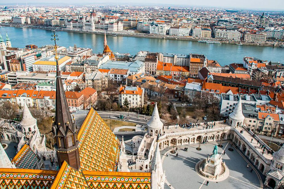 Buildings and river view from the top of Matthias Church in Budapest, a great city for nomad living