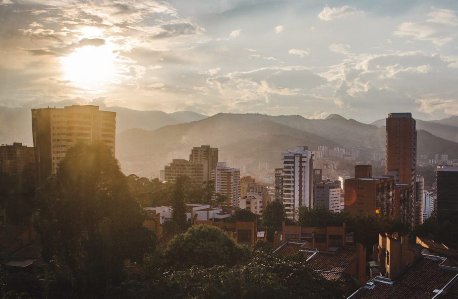 Sunset and buildings at Medellín, Colombia
