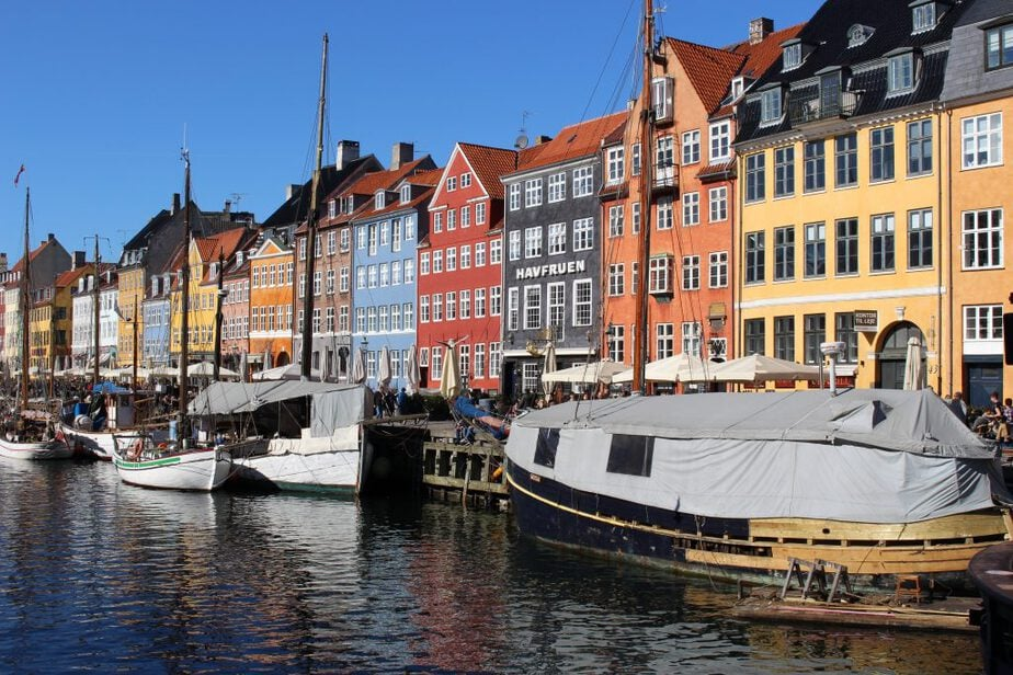 Bay area with boats and buildings in Copenhagen
