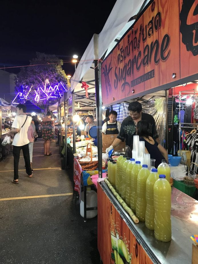 Stalls and Booths of Thai food at the night market in Phuket