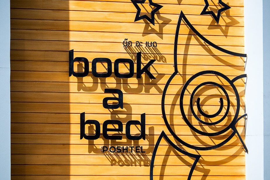 Logo and Sign of Book a Bed Poshtel