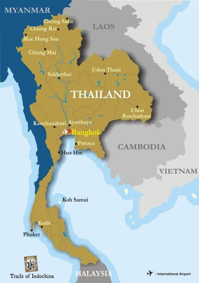 Map of Thailand showing major cities like Bangkok, Phuket, and Chiang Mai and surrounding cities