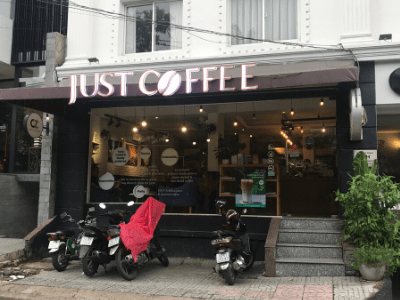 Outside entrance to Just coffee one of the best coffee shops in HCMC
