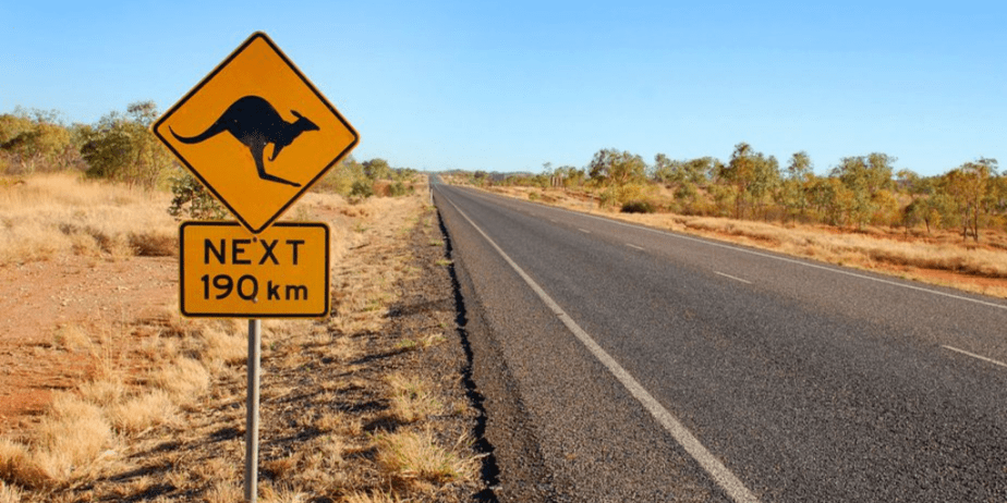 Kangaroo warning sign in central Australia